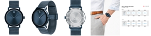 Movado Men's Swiss Bold Blue Ion-Plated Stainless Steel Mesh Bracelet Watch 40mm