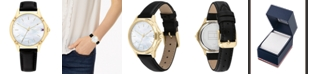 Tommy Hilfiger Women's Black Leather Strap Watch 34mm, Created for Macy's