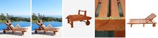 VIFAH Malibu Outdoor Wood Folding Sunbathing Chaise Lounge