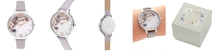 Olivia Burton Women's Watercolour Floral Gray Lilac Leather Strap Watch 34mm