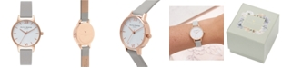 Olivia Burton Women's Gray Leather Strap Watch 30mm
