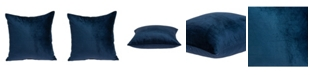 Parkland Collection Jugo Transitional Navy Blue Solid Pillow Cover With Down Insert