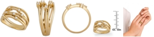 Macy's Diamond Multi-Row Statement Ring (1/4 ct. t.w.) in 14k Gold-Plated Sterling Silver
