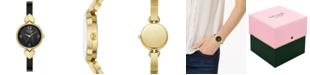 kate spade new york Women's Hollis Gold-Tone Stainless Steel & Black Enamel Bangle Bracelet Watch 30mm