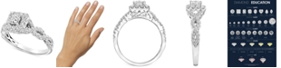 Macy's Diamond Square Halo Braided Shank Engagement Ring (1 ct. t.w.) in 14k White Gold