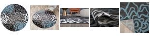 "Main Street Rugs Montane Mon108 Gray 6'6"" Round Area Rug"