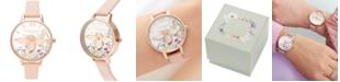Olivia Burton Women's Enchanted Garden Peach Leather Strap Watch 34mm