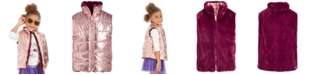 Epic Threads Little Girls Reversible Metallic & Faux-Fur Puffer Vest, Created For Macy's