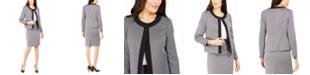 Le Suit Contrast-Trim Skirt Suit