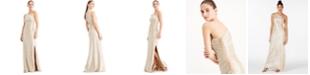 Calvin Klein One-Shoulder Metallic Gown