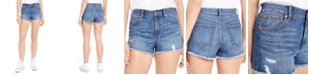 Rewash Juniors' Ripped High-Rise Denim Wedge Shorts