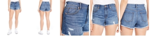Rewash Juniors' Ripped High-Rise Denim Wedge Shorts
