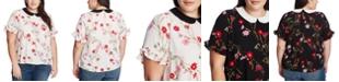 CeCe Plus Size Printed Peter-Pan-Collar Top