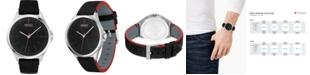 HUGO Men's #SMASH Black Leather Strap Watch 43mm