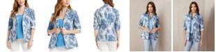 Karen Kane Palm-Print Ruched-Sleeve Jacket