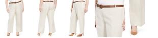 Calvin Klein Plus Size Belted Wide-Leg Linen Pants