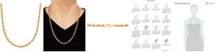 """Italian Gold Men's Glitter Rope 24"""" Chain Necklace (4.5mm) in 14k Gold"""