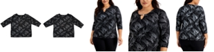 JM Collection Plus Size Printed Jacquard Keyhole Top, Created For Macy's