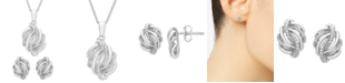 Macy's 2-Pc. Set (1/6 ct. t.w.) Diamond Knot Pendant Necklace & Matching Stud Earrings in Sterling Silver