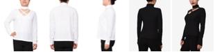 Derek Heart Trendy Plus Size Cutout Mockneck Top