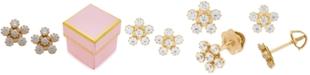 Macy's  Children's Cubic Zirconia Flower Stud Earrings in 14k Gold
