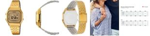 Casio Women's Digital Vintage Gold-Tone Stainless Steel Bracelet Watch 39x39mm LA680WGA-9MV