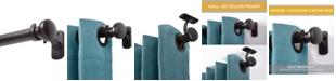 "Kenney Weaver 1"" Outdoor Window Curtain Rod, 72""-144"", Black"