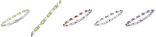 Macy's Peridot (6 ct. t.w.) & Diamond Accent Link Bracelet in Sterling Silver (Also available in Garnet, Amethyst, Mystic Topaz)