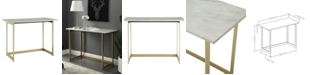 Walker Edison 42 inch Faux Marble Desk with White Top and Gold Base