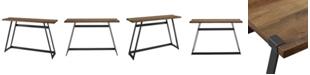 Walker Edison 46 inch Metal Wrap Entry Table in Rustic Oak