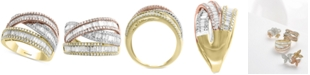EFFY Collection EFFY® Diamond Baguette Tricolor Ring (1-1/2 ct. t.w.) in 14k Gold, White Gold & Rose Gold