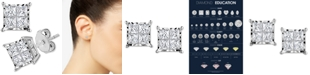 TruMiracle Diamond Princess Cluster Stud Earrings (1/2 ct. t.w.) in 14k Gold
