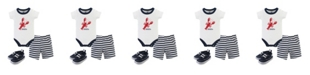Hudson Baby Bodysuits, Shorts and Shoes, 3-Piece Set, 0-18 Months