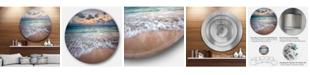 "Design Art Designart 'Waves Crashing Serene Seashore' Seascape Metal Circle Wall Art - 23"" x 23"""