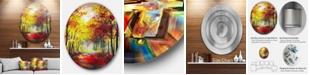 """Design Art Designart 'Walk Through Autumn Forest' Landscape Metal Circle Wall Art - 38"""" x 38"""""""