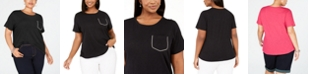 INC International Concepts INC Plus Size Rhinestone-Pocket T-Shirt, Created for Macy's