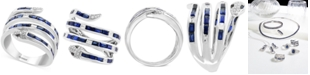 EFFY Collection EFFY® Sapphire (1-1/2 ct. t.w.) & Diamond (1/4 ct. t.w.) Snake Statement Ring in 14k White Gold