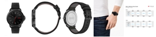HUGO Men's #Lead Black Leather Strap Watch 42mm