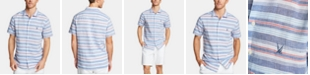 Nautica Men's Blue Sail Classic Fit Stripe Camp Collar Shirt, Created for Macy's