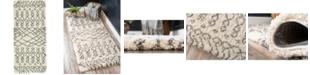 """Bridgeport Home Fazil Shag Faz2 Pure Ivory 2' 7"""" x 6' Runner Area Rug"""