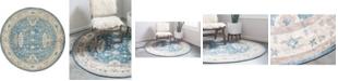 """Bridgeport Home Bellmere Bel5 Light Blue 7' 3"""" x 7' 3"""" Round Area Rug"""