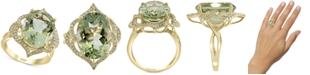 EFFY Collection EFFY® Green Quartz (8-1/3 ct. t.w.) & Diamond (1/4 ct. t.w.) Statement Ring in 14k Gold