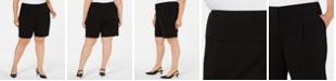 Alfani Plus Size Wide-Waistband Shorts, Created for Macy's