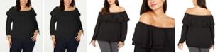 Michael Kors Plus Size Ruffled Off-The-Shoulder Top