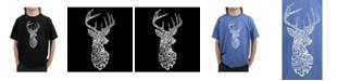 LA Pop Art Big Boy's Word Art T-Shirt - Types of Deer