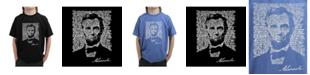 LA Pop Art Big Boy's Word Art T-Shirt - Abraham Lincoln - Gettysburg Address