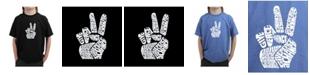 LA Pop Art Big Boy's Word Art T-Shirt - Peace Fingers