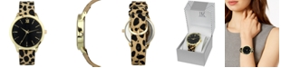 INC International Concepts I.N.C. Women's Leopard-Print Faux Leather Strap Watch 39mm, Created for Macy's