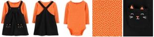 Carter's Baby Girls 2-Pc. Cotton Dot-Print Bodysuit & Cat Jumper Set