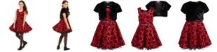 Beautees Big Girls 2-Pc. Belted Floral Skater Dress & Faux-Fur Jacket Set
